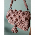 Handmade knitted pink bag clutch of knitted yarn