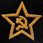 Embroidered Sleeve Soviet metal tape Star with hammer and sickle