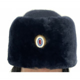 Russian Woman Warm Hat for Police Department Female Ushanka for Policewomen