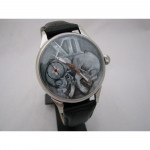 Russian Gothic wrist watch with skulls Molniya mechanical with tansparent mechanism back
