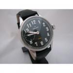 Vintage Russian black wrist watch Molnija PILOT with transparent back