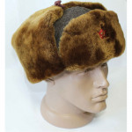 Soviet Russian warm brown Ushanka hat with synthetic fur