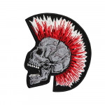 Tattoo Red Skull Punk Embroidered Sew-on / Iron-on / Velcro Patch