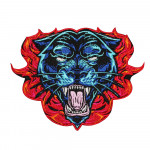 Panther on the Fire Tattoo Embroidery Sew-on / Iron-on / Velcro Patch