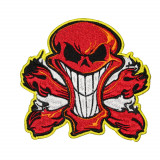 Red Skull With Fire Halloween Embroidered Sew-on / Iron-on / Velcro Patch