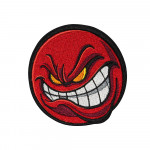 Red  Face Angry Smile Fun Embroidered Sew-on / Iron-on / Velcro Patch