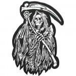 Halloween Death Skull with ripper Embroidered Sew-on / Iron-on / Velcro patch