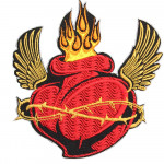 Heart and Fire Tattoo Embroidery Custom Sew-on / Iron-on / Velcro Patch