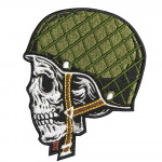 Skull in Helmet Army Special Forces Embroidery Custom Sew-on / Iron-on / Velcro Patch
