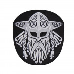 Viking Norse Mythology Ornament Black-White Embroidered Sew-on Handmade Scandinavian Patch