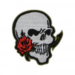SKULL AND ROSE Skull Embroidered Sew-on Sleeve Handmade Patch #1