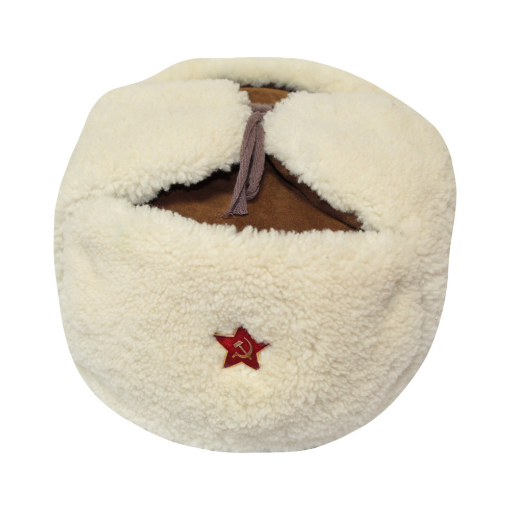 Soviet russian white fur ushanka military officer rkka earflaps hat