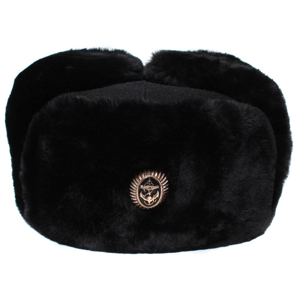 Russian Navy fleet black warm Ushanka winter fur hat